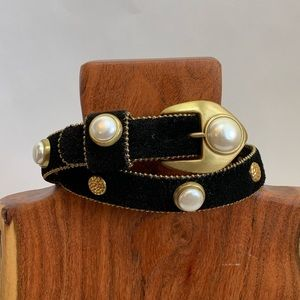Vintage Black Suede Belt with Pearl Gold Tone XS